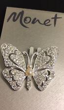 Monet Butterfly Brooch Silver Tone Rhinestone Pearl Nwt On Original Card Nos