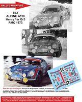 DECALS 1/24 REF 872 ALPINE RENAULT A110 HENRY RALLYE MONTE CARLO 1973 RALLY WRC