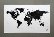 Paper world map decorative posters ebay black and white world map poster version 2 simple is the best gumiabroncs Image collections