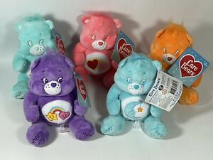"""NWT Care Bears 7"""" Sitting Plush Set Of 5 Best Friend Bedtime Wish Love A Lot"""