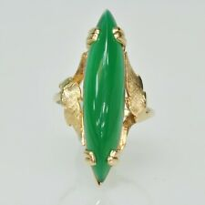 VINTAGE Ladies 14k Yellow Gold Marquise Nephrite Vertical Estate Ring Size 7