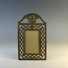 Antique Bronze Photo Frame with Putti and Lattice Boarder and Easel