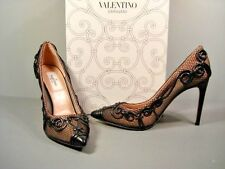 Valentino Black Leather Swirl Classic Authentic Point Toe Pumps Shoes 38/8 New