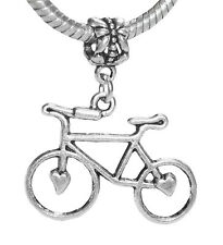Large Bicycle Heart Bike Cycling Dangle Bead for Silver European Charm Bracelet