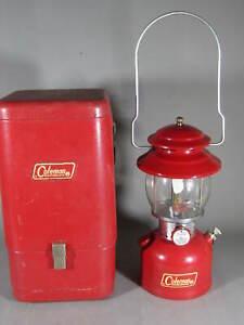 1972 Vintage Coleman Red 200A Lantern w/ Original Metal Case