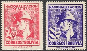 1953 Bolivia SC# 376-377 - Nationalization of the Mines  - M-H