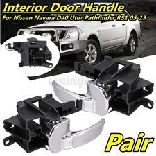 Pair Inner Inside Door Handle For Nissan Navara D40 Pathfinder R51 05~13 Chrome