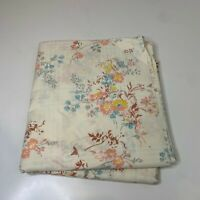 vintage flat sheet beige floral pink and yellow paisley print