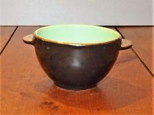 Ancien bol breton à oreilles noir or et vert années 50 / Vintage french bowl