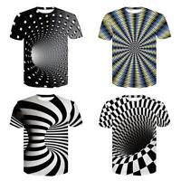 Unisex Nic Short Sleeve Tee Top 3D Swirl Print Optical illusion Hypnosis T-Shirt