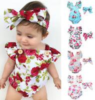 2pcs Baby Girl Clothes Newborn Headband+Flower Bodysuit Ropa de Bebe Outfits Set