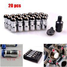 20PC M12X1.5 Black Spline Tuner Racing Lug Nuts Car Hub Anti-theft Nuts Screw