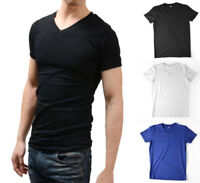 US Men Slim Fit Short Sleeve V Neck Gym Muscle Casual T-shirt Tops Blouse Summer