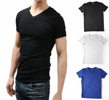 New Mens T-shirts V-neck Tee Classic Fit Muscle Top Spandex Solid XS S M L XL