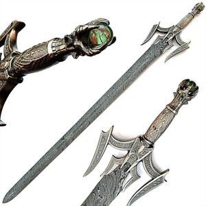 "44.0 ""Custom Handmade Damascus Steel Combat Hunting Sword With Leather Sheath"