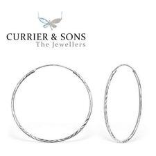 925 Sterling Silver Large 40mm Diamond Cut Hoop Sleeper Earrings (Pair)