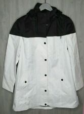 UGG Australia Women's Trench Rain Jacket Coat Hooded Black White Size XL