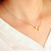Silver Gold Love Heart Letter Initial Friendship Bridesmaid Chain Necklace Gift