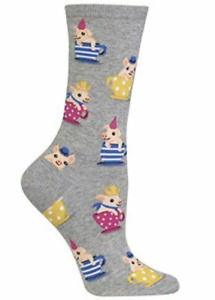 Hot Sox Tea Cup Pig Crew Socks Shoe Size 4-10.5 Pigs in a teacup Sock Gray