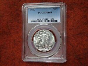 1939 Walking Liberty Half Dollar,PCGS MS65, Blast White,Gem BU,Super Minty,WOW