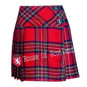 Hs Femmes Royal Stewart Tartan Écossais Mini Kilt Mod Jupe / Gratuit Broche