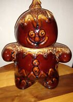 Vintage Hull Pottery Gingerbread Man Cookie Jar with Brown Drip Glaze Christmas
