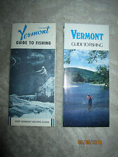 Lot of 2 vintage Vermont Guide to Fishing brochures with fold out maps, 1981-85
