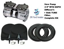 "New 3/4hp 220v Lake Fish Pond Aerator System 2-9"" Epdm Diffusers 100' Sink Tube"