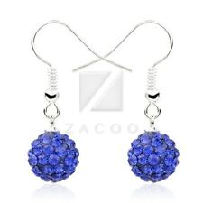 1 Pair Rhinestone Crystal 10mm Disco Ball Beads Dangle Earrings 37 Color Choose