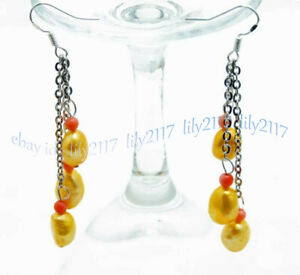 7-9mm Baroque Natural Freshwater Pearl & Coral Chain Dangle Silver Hook Earrings