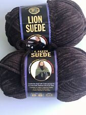 Set of 2 Lion Suede Bulky Weight Polyester Chenille Yarn - Coffee (4