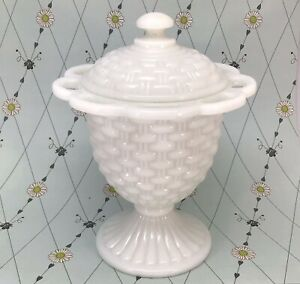 Imperial Glass White Milk Glass Covered Candy Dish Basket Weave Basketweave
