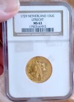 NGC MS63 1729 NETHERLANDS WEST FREISLAND GOLD DUCAT SHIPWRECK COIN FLASHY CHEAP