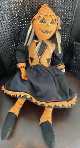 Joe Spencer Halloween Gathered Traditions Pumpkin Doll NWT