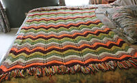 Vintage Hand Crochet AFGHAN THROW BLANKET Beautiful Earth Colors Knit 64 x 42