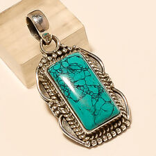 Natural Afghan Turquoise Pendant 925 Sterling Silver Statement Fine Jewelry Gift
