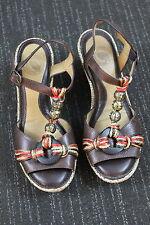 Women's Nurture Platform wedged Heels leather open strappy summer sandals 6.5