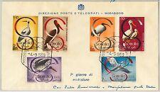 SOMALIA -  POSTAL HISTORY -   FDC COVER Scott # 230/233 + C61/62 -  BIRDS 1959