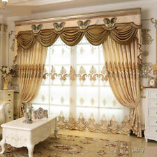 Chenille embroidered yellow cloth blackout curtain tulle valance drape M729