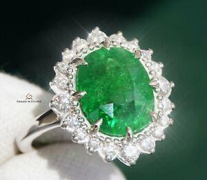Tsavorite Gold Ring Diamond Garnet Natural 8.06CTW GIA Certified RETAIL $14400
