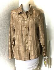 TANJAY Gold Button Front Crinkle Texture Women's Jacket  Size 8