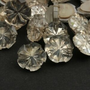 Lot (24) Czech vintage clear snowflake glass rhinestone trimming beads buttons