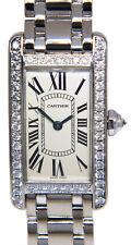 Cartier Tank Americaine 18k White Gold& Diamonds Silver Dial Ladies Watch 2489