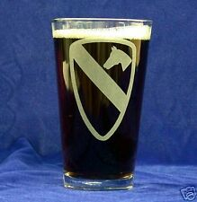 US Army 1st Cav Div 16oz etched Beer Glass set of 4
