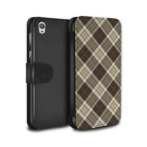 PU Leather Case/Cover/Wallet for Sony Xperia E5/Tartan Picnic Pattern/Brown