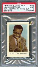 1958 Dutch Gum Card GERMANY Set A #112 LOUIS ARMSTRONG Trumpet Player PSA 9 MINT