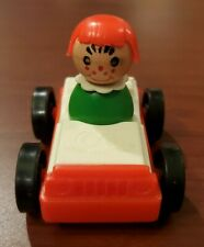 Vintage Fischer Price toy car with wooden woman