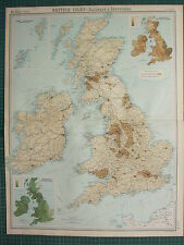 1921 LARGE MAP ~ BRITISH ISLES ~ RAILWAYS & INDUSTRIAL PASTURE LAND