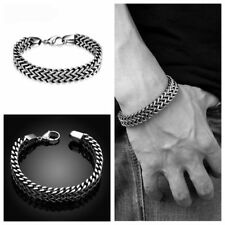 Men's Fashion Stainless Steel Vintage Silver Snake Chain Bracelet & Bangle Hot