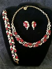 Vintage signed Lisner red rhinestone necklace earrings bracelet set demi parure
